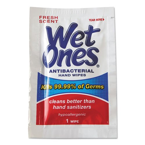 Wet Ones Antibacterial Moist Towelettes, 5 X 7-1/2, White, 1-Ply - 10 Boxes Of 24 Individually-Wrapped Packets. front-737482