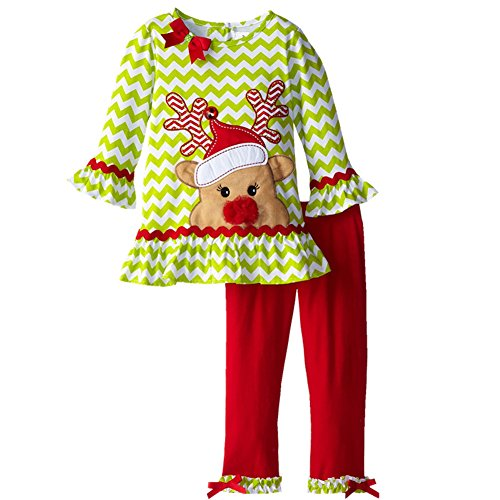 [2-6 Years Baby's Girls Sets Christmas elk Long-sleeve Skirt and Pants Girls Suit (2T, Red)] (Infant Red Minnie My First Disney Costumes)