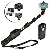 """JTD ® 2016 Professional Telescopic Aluminum Alloy Pole Extendable to 49"""" Extra Long Self Portrait Selfie Stick Pole Monopod Bluetooth Zoom Remote Controller Universal Mount for Android iPhone DSLR"""