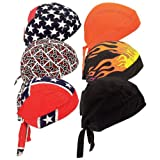 Motorcycle Biker Skull Caps / Head Wrap Do Rags / Bandanas / Hats - 6pc Set Assorted