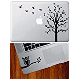 COMBO PACK - Tree with Flying Birds - Macbook Laptop Vinyl Decal & Owl on Branch Design 1 - D1 - Trackpad / Keyboard - Vinyl Decal (BLACK)