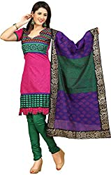Raahi Unstitched Pink Cotton Printed Dress Material - Salwar Suit