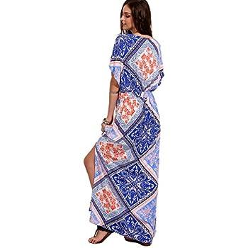Milumia Women's Boho Split Tie-Waist Vintage Print Maxi Dress
