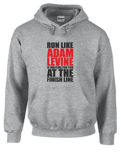run-like-adam-levine-is-waiting-hoodie-imprime-gris-noir-rouge-2xl-127-132cm
