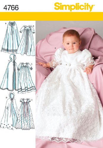 Simplicity Sewing Pattern 4766 Babies Christening Gowns, A (XXS-XS-S-M-L) (Christening Gown Sewing Pattern compare prices)