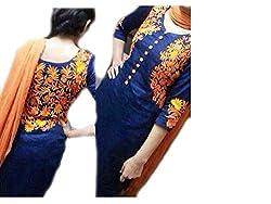Khazanakart blue cotton dress materials For Women