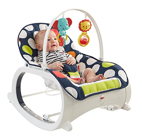 Fisher-Price Baby Infant-to-Toddler Rocker, Navy dots