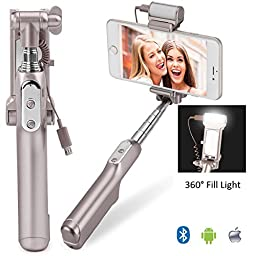 MOCREO Bluetooth Selfie Stick with 360 Degree Led Fill Light (Gold)