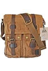 SERBAGS Vintage Military Canvas Messenger Bag With Leather Straps