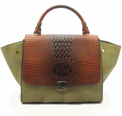 Green Leather Handbag Brown Croc and Olive Green Satchel or Shoulder Bag Green Brown
