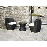 Polyrattan Gartenmöbel Set STAPLE schwarz Vase - Amphore