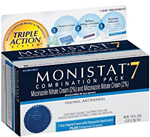Monistat 7 combination pack vaginal antifungal for Exterior yeast infection