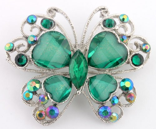 Ladies Green and Silver Butterfly Brooch & Pin