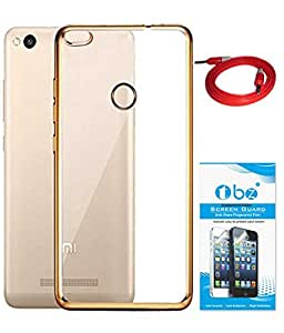 TBZ Transparent Electroplated Edges TPU Back Case Cover for Xiaomi Redmi 3s Prime with AUX Cable and Tempered Screen Guard -Golden