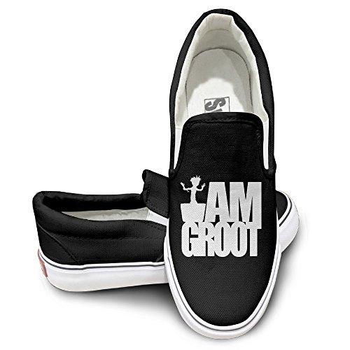AARON Men's & Women's Groot-I AM Groot Low Canvas Shoes Black Size 43