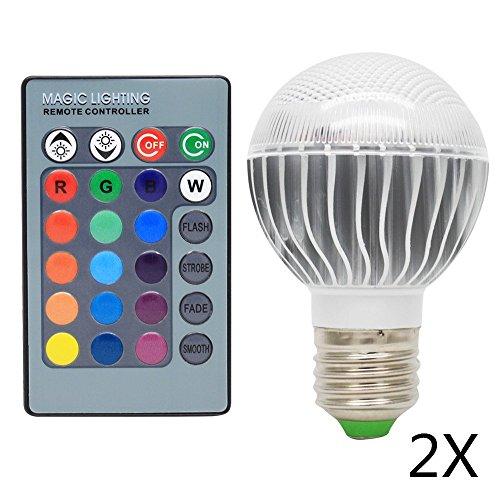 2 Pack 3W Dimmbare E27 LED RGB Farbwechsel Lampen Birnen Leuchtmittel, 16 Bunt LED Birne Farbwechsel Lampe Licht mit IR Fernbedienung,120° Abstrahlwinkel