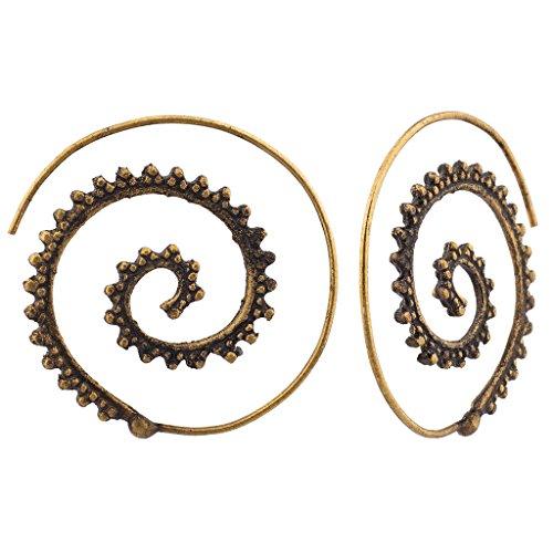 Lux Accessories-Orecchini a cerchio a spirale-Decorazioni floreali