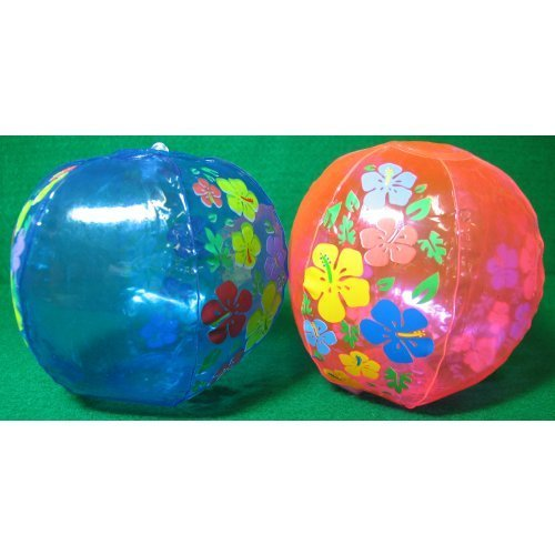 Inflatable Hibiscus Beach Balls, 12 pack