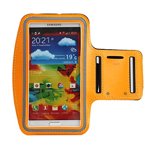 Boriyuan New Adjustable Gym Jogging Running Pu Leather Sport Armband Protective Case With Key Earphone Holder Slot For Samsung Galaxy Note 3 Iii N9000 N9002 N9005 With A Free Stylus Touch Screen Pen (Orange)