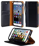 "iPhone 6 Plus case, ACEABOVE [Stand Feature] iPhone 6 Plus 5.5"" Wallet Case **NEW** [Book Cover Case] [Black] - Premium Genuine Leather Wallet Cover with STAND Flip Cover and [Card Slots] and [Hand Strap] for Apple iPhone 6 Plus 5.5 Inch Late 2014 Model (Black)"