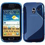 Silikon Hülle Samsung Galaxy Ace 2 - Blau - I8160 PhoneNatic TPU Case Silikon Cover Hülle Schutzhülle + Schutzfolie