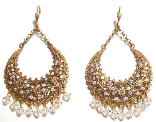 14K Antique Gold Finish Dangle Crescent Chandelier Earrings with Swarovski Crystals by La Vie Parisienne
