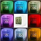 Multifunción LCD despertador digital Termómetro Fecha Display LED que brilla intensamente Luz de la noche 7 Cambio de color
