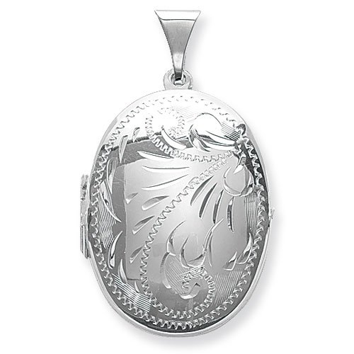 Mens Sterling Silver Small Full Engraved Oval Locket On A 16 Inch Black Leather Cord Necklace