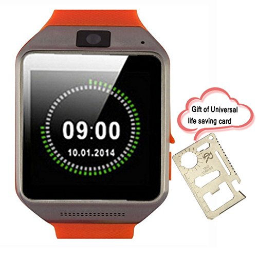RC GV08 Smart Bluetooth Watch Phone with 1.5'' Touch Screen 1.3MP camera Supports SIM Card Sync SMS Phone Book Call History for Android Samsung Galaxy S5/S4/S3 Samsung Galaxy Note 3/2 LG G3/G2 Motorala Moto X/G OnePlus One+ A0001 Huawei P6 Cell phones(Orange) [並行輸入品]