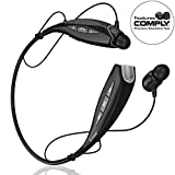 Phaiser BHS-930 Bluetooth Headphones Headset Sport Earphones with Mic and Lifetime Sweatproof Warranty - Wireless Earbuds for Outdoors, Blackout