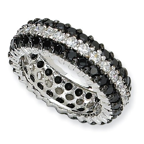 Sterling Silver Black/White CZ Eternity Ring - Size 7