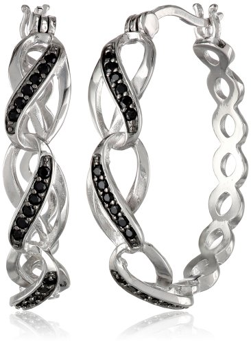 Sterling Silver Black Spinel Twisted Hoop Earrings