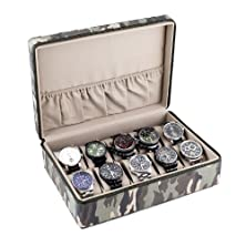 buy Caddy Bay Collection Camo Watch Box Display Storage Case With Tan Interior Holds 10 Watches