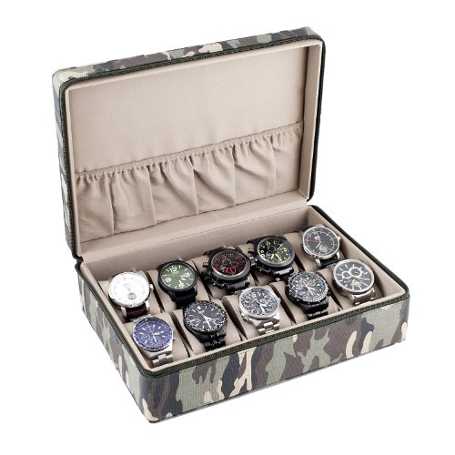 Watch Box Display Storage Case With Camouflage Canvas Exterior Sandy Tan Interior Holds 10 Watches