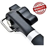Restaurant can opener, Manual can opener, Sokos Stainless Steel Ergonomic Anti Slip Design-Smooth Edge Side Cut No Sharp Cuts can opener (Black)