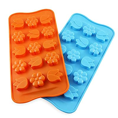 Candy Making Molds, 2PCS YYP 15 Cavity Flower Shape Mold Silicone Candy Molds for Home Baking - Reusable Silicone Baking Molds for Candy, Cake, Chocolate or More, Set of 2