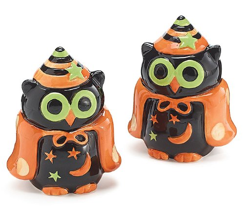 Whimsical Halloween Owl Salt and Pepper Shaker Adorable Halloween Decor