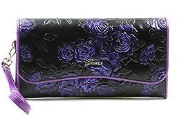 ArtsEye Rose Embossed Genuine Leather Wallet Clutch Purse (M-Purple)