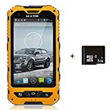 Acatim 4 Inch IP67 Waterproof 3G Rugged Android 4.2 Smartphone 1.2GHz Dual Core Dual SIM Dustproof Shockproof Capacitive screen GPS 5MP-Black +8GB card (Yellow)