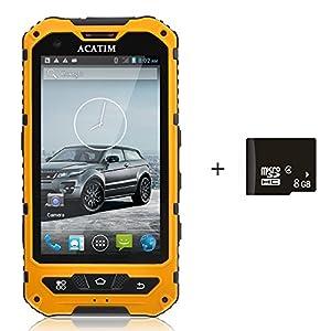Acatim 4 Inch IP67 Waterproof 3G Rugged Android 4.2 Smartphone 1.2GHz Dual Core Dual SIM Dustproof Shockproof Capacitive screen GPS 5MP-Black +8GB card (Yellow)
