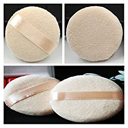 Kalevel 2pcs 6cm Powder Puffs for Face Round Powder Puff with Handle Facial Cosmetic Loose Powder Puff Double Stitched Satin Velour Powder Puff Cosmetic Makeup Sponge Body Powder Puff for Makeup