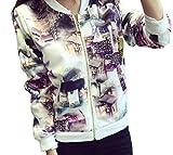 【four clover】 レディース アウター コート ジャンパー 上着 ブルゾン 長袖 柄 春 秋 冬 xl 2l 大きいサイズ トップス ファッション カジュアル おしゃれ 安い エコバッグ付き