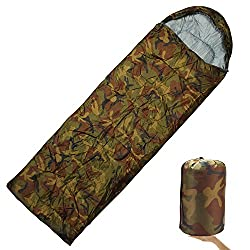 7Trees All Season Hooded Sleeping Bag (Single) with Compression Carry Bag - Lightweight, Portable, Waterproof, Comfortable for Camping, Hiking, Adventure Trips (Pattern- Camouflage)