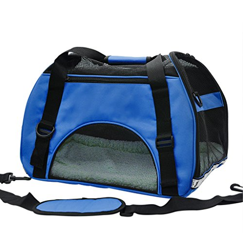 Pet Cuisine Breathable Soft-sided Pet Carrier, Cats Dogs Travel Crate Tote Portable Handbag Shoulder Bag Outdoor Dark Blue L
