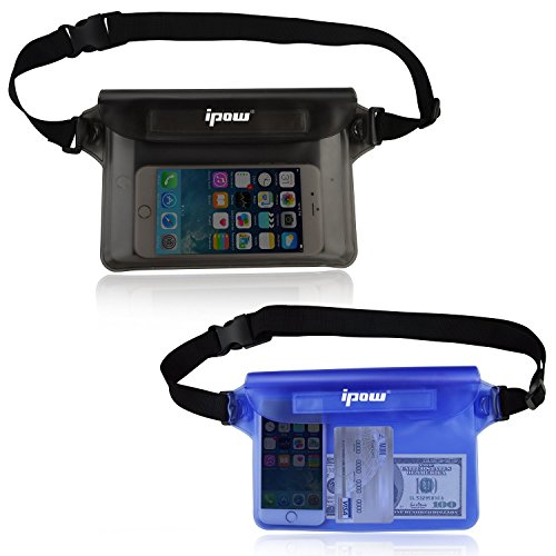 2-Pack-Ipow-Waterproof-Pouch-Bag-Case-Waist-Strap-for-Beach-Swim-Boating-Kayaking-Hiking-Etc-Protect-Iphone-Cellphone-Camera-Cash-Mp3-Passport-Document-From-Water-Sand-Snow-Dust-and-Dirt
