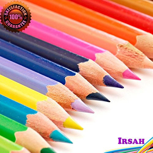 Watercolor-Pencils-from-Irsah-24-Assorted-Colored-Pencil-Set-Water-Soluble-30mm-Core-Recycled-Hard-Wood-Artist-Sketch-Writing-Drawing-a-Great-Gift-Idea