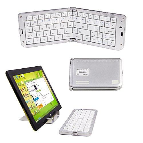 Ptatoms 超小型 mini Bluetooth キーボード 薄型 軽型 Wireless keyboard 折りたたみ ワイヤレス ブルートゥースキーボード スタンド付き iPad/iPhone/Android/アンドロイド/スマホ/タブレット/パソコン適用 wireless bluetooth keyboard スタンド付  (シルバー)