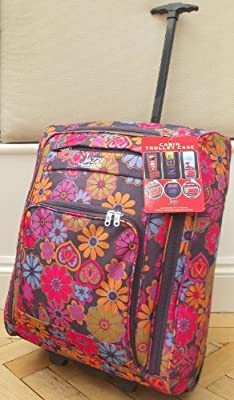 Plum Pink Pink butterfly floral print Travel Holdall hand luggage carry on trolley Bag On Wheels CABIN APPROVED