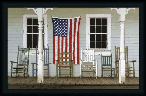Chair Family With Flags By Zhen-Huan Lu Rocking Chair On Porch 35X23 Wall Art Print Picture Framed front-422806