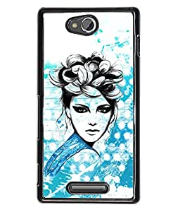 Fuson Cute Girl Back Case Cover for SONY XPERIA C - D3869